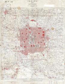0633古地图1909 北京城区地图英国海军部战争手稿地图
