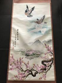 鲁华,129*67cm,立轴,国画立轴,华夏沐春风图