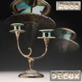 民国时期 銀製 牡丹唐草彫文 高15.6cm 重210g(800刻印)・銀燭台・銀蝋燭立
