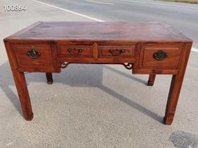 民国时期,老榉木账桌画桌画案一张,面板是独板,尺寸大,铜件齐全,尺寸如图