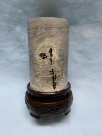 【中华国画石057】草花石笔筒.广西柳州奇石精品