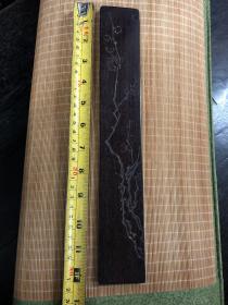 约创汇时期 紫檀木精刻梅花纹镇尺(尺寸:长31.5cm*宽4.7cm*厚0.8cm)