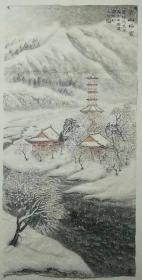 李群臣,可合影,四尺山水 雪景
