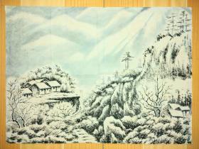 雪景图,画的很漂亮,几十年的老画,自然旧