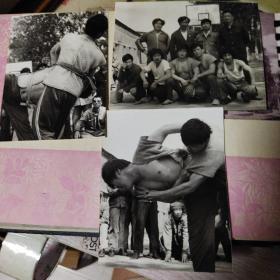 黑白老照片,1985年摔跤运动照片3张合售