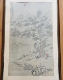 清代中期恽寿平款松鹤纸编中堂