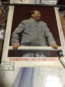 我们最最敬爱的领袖毛主席在天安门城楼上检阅游行大军(宣传画)