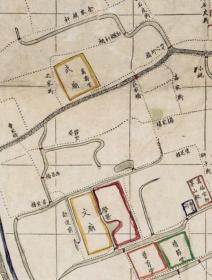 古地图1875 上海县城厢租界全图 清光绪元年。纸本大小81*138厘米。宣纸艺术微喷复制。320元包邮