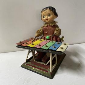 约五六十年代橡胶铁皮玩具 发条敲琴娃娃 可正常上链