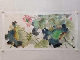 保真书画,台湾名家,老一辈画家,邢万龄国画佳作《荷韵》一幅,纸本托片,尺寸52×106cm。