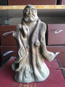 达摩禅悟 纯手工雕刻老紫砂摆件