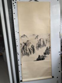 旧画一副 瘦铁  手绘水墨 山水画立轴 旧裱 尺寸68x68