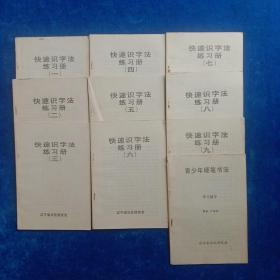快速识字法练习册 (1至9册全)、青少年硬笔书法  (10本   合售)