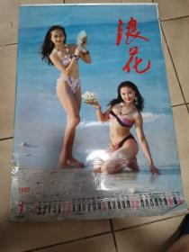 挂历 1995年 浪花 泳装美女 12张全