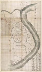0504古地图1875 上海县城厢租界全图 清光绪元年。纸本大小81*138厘米。宣纸艺术微喷复制