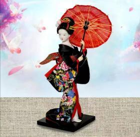 日本人形摆设9寸日式绢人摆件工艺品日本人偶和服艺妓仕女娃娃(尺寸以实物为准)拍前截图给客服,以免发货错误。