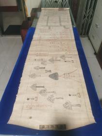 清末朱墨精写绘本,布质绘画,丁氏佳城坟茔图一幅,一卷完整,代原装筒