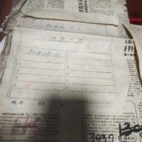五十年代杭州市建筑工人肃反学习登记表一份