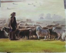 油画《牧羊女 》