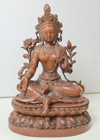 木雕观音坐莲像(高14㎝㡳座长9.5㎝宽7㎝)