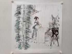 保真书画,南京名家,诸太宝《惜春》红楼梦人物画一幅,纸本托片,尺寸69×69.5cm。