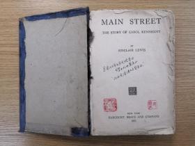 [外文原版.英文]1921年美国原版精装 辛克莱.路易斯 《大街》《main street——the story of Carol kennicott》