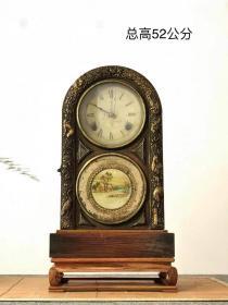 民国时期老座钟,『登禄意匠』(带花梨木底座一套)设计巧妙,外壳鎏金镶嵌!六种灵兽,孤品!铜机芯配件齐全,走打可收藏