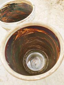 文人墨客用的卷缸。老窑挂柚。完整无损包老