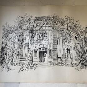 钢笔素描一一清华大学