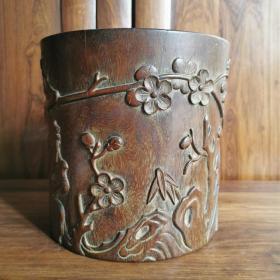清代木雕笔筒雕刻松竹梅木笔筒