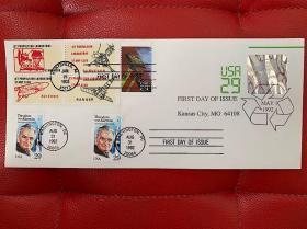 冯卡门诞辰100周年纪念邮票首日封+空间探索+喷气推进实验室纪念