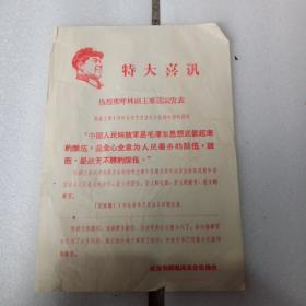 文革布告,热烈欢迎林副主席题词发表