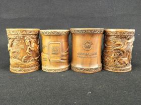 黄杨木笔筒4个,雕刻精美,品相完整,标的是单个价钱 通走优惠