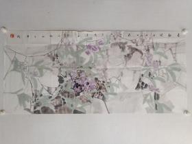 保真书画,当代水墨,王法进四尺整纸国画《春韵图》一幅62.5×137cm,边有小口。王法进,学院派画家,山东师范大学美术学院硕士,山东艺术学院副教授。