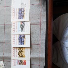98武汉市抗洪赈灾邮资明信片(五张合售)