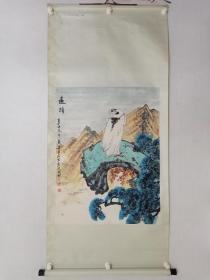 保真书画,四川老一辈书画家,傅寿昌原装裱立轴《松鹰图》一幅,画心尺寸87.5×66cm。裱工略伤,也可以裁成镜心。