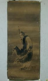章信【张道陵天师像】原托裱纸本镜心。品相如图局部有斑点破皮。尺寸:134x55cm。