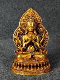 精品收藏紫铜鎏真金精工打造四臂观音供像 重812克