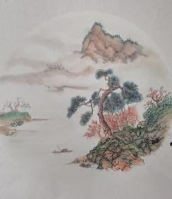 纯手工绘画山水画