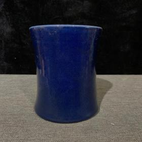 清霁蓝釉笔筒