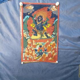 西藏老唐卡   背面有款