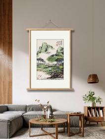 朱屺瞻-江上烟波。纸本大小47*70厘米。宣纸艺术微喷复制。图为装裱参考图