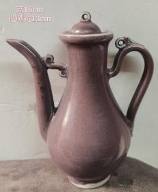 珍稀到代的明代浅茄皮紫釉执壶