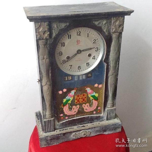 早期原版国产飞蝶牌座钟基本完好带双日历品相看图自定
