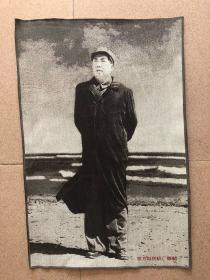 毛主席在北戴河画像文革刺绣织锦绣丝织画红色收藏品