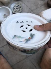 老潮州山水茶盘,中间金钱