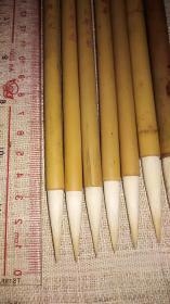 纯羊老毛笔,上海工艺、浙江~竹帽货汉壁、大楷羊、四海羊,共7支