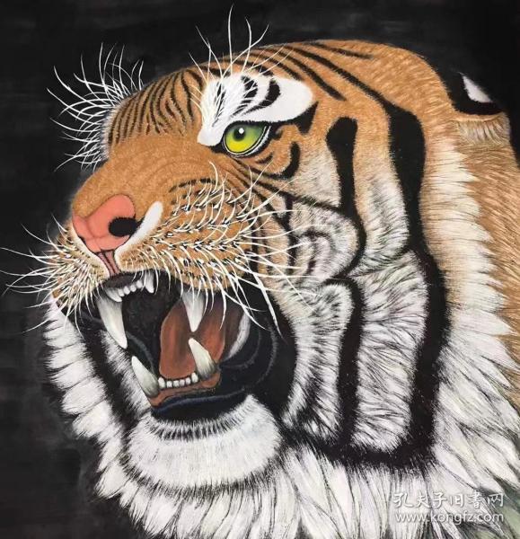 古丰国画作品四尺斗方虎头尺寸约68X68厘米