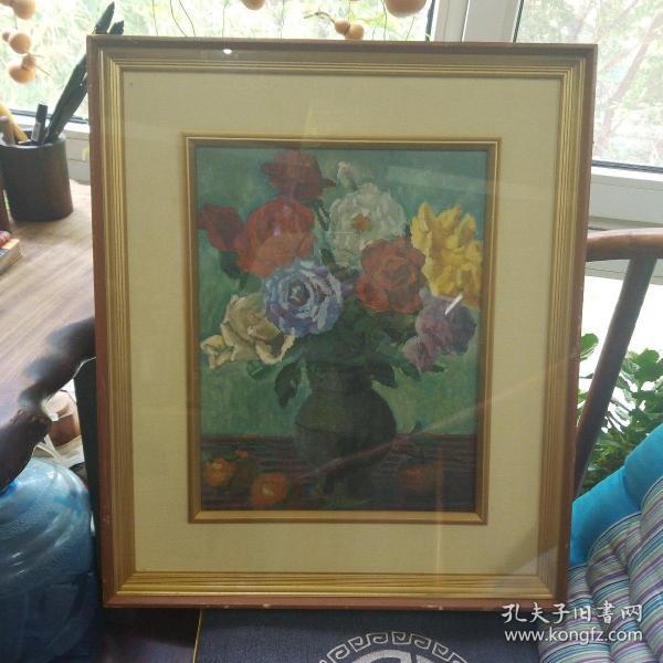 油画 现代日本画坛   黑田重大郎   花静  内径39×30.5CM