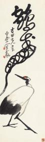 王震-鹤寿图。 纸本大小33.82*104.23厘米。 宣纸艺术微喷复制